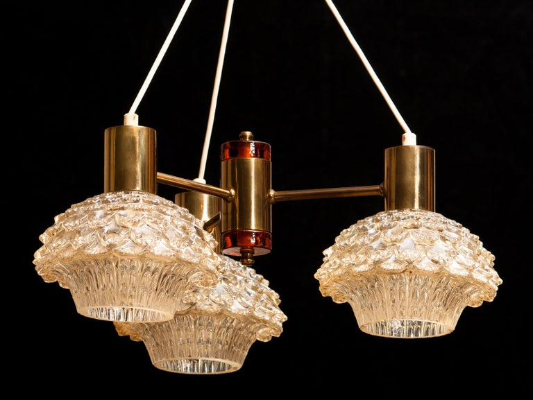 1950s, Brass and Glass Chandelier by Carl Fagerlund for Orrefors For Sale 3