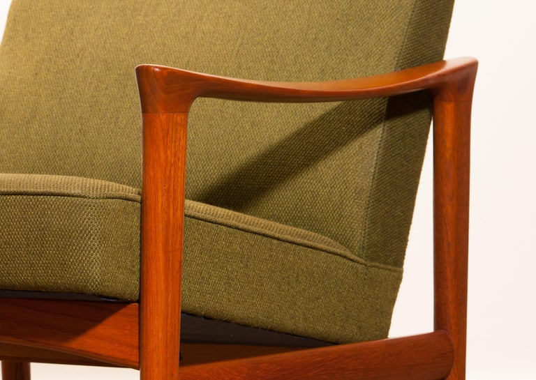 Fabric 1960s, Teak Lounge Chair by Erik Wørts for Bröderna Andersson For Sale