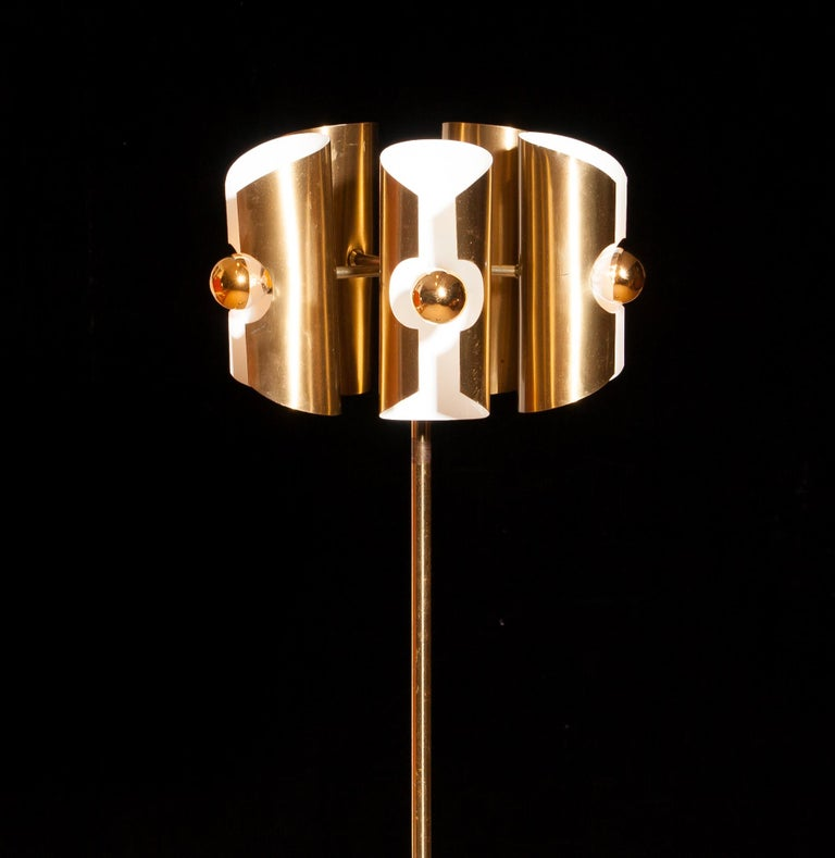 Mid-20th Century 1960 Lovely Italian Brass Floor Lamp with Five Brushed Brass Shades For Sale