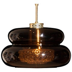 1970s, Glass and Brass Pendant 'Bubblan' by Carl Fagerlund for Orrefors