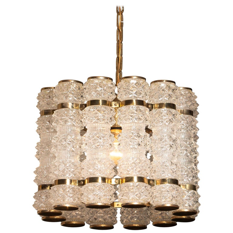 1960s, Brass and Crystal Cylinder Chandelier by Tyringe for Orrefors, Sweden For Sale