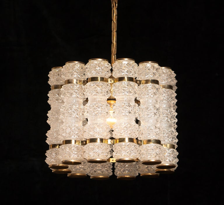 Mid-Century Modern 1960s, Brass and Crystal Cylinder Chandelier by Tyringe for Orrefors, Sweden For Sale