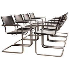 1970s Set of Eight Tubular Steel and Leather Dining Chairs by Matteo Grassi