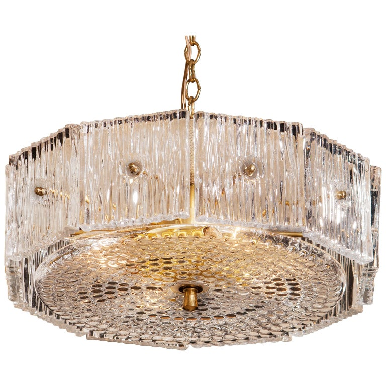 1960s, Brass and Clear Crystal Pendant by Carl Fagerlund for Orrefors