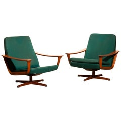 1960s, Teak Set of Two Swivel Chairs by Johannes Andersson for Trensum Denmark