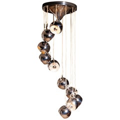 1960s, Chromed Waterfall Chandelier with Adjustable Globes by Lampadari Reggiani