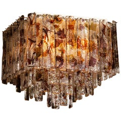 Multicolored Italian Squared Venini Murano Crystal Ceiling Lamp by Mazzega, 1960