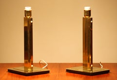 1960s. Set of Two Art Deco Style Polished Brass Table Lamps by Örsjö, Sweden