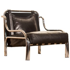 1960s Leather and Chrome Lounge Chair by Gae Aulenti for Poltronova