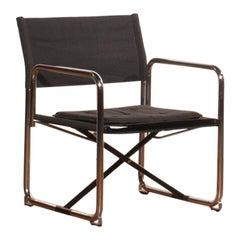 1970s, Canvas and Chrome Black Folding Chair by Börge Lindau & Bo Lindecrantz
