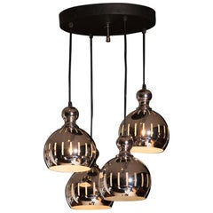 Four Chromed Spheres Chandelier by Esperia, Italy, 1970