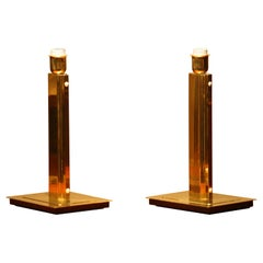 1960s, Set of Two Art Deco Style Polished Brass Table Lamps by Örsjö, Sweden