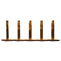 1960s, Five Art Deco Style Polished Brass Table Lamps by Örsjö, Sweden
