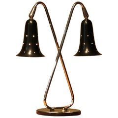 1950s Metal Black Lacquered and Chromed Desk or Table Lamp Made in the USA