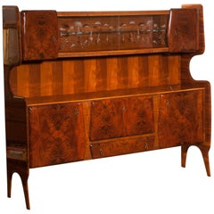 Italian Highboard or Buffet Cabinet in Burl Wood and Walnut by Vittorio Dassi