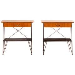 1950s, Set of Teak and Black Metal Gullberg Style Nightstands Bedside Tables