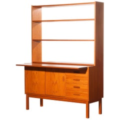 1960s, Teak Book Case with Slidable Writing or Working Space from Sweden