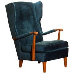1950s, Knoll Lounge or Wingback Chair in Petrol Rib Velours / Velvet