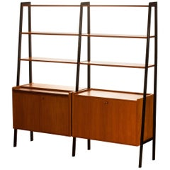 Teak Swedish Double Bookcase or Secretaire with Black Stands, 1950s