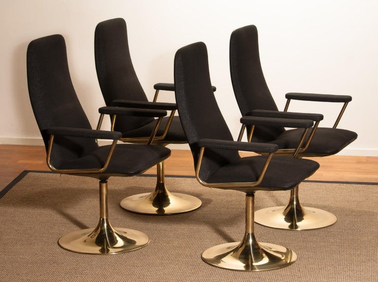 Mid-Century Modern Four Golden, with Black Fabric, Armrest Swivel Chairs by Johanson Design, 1970 For Sale