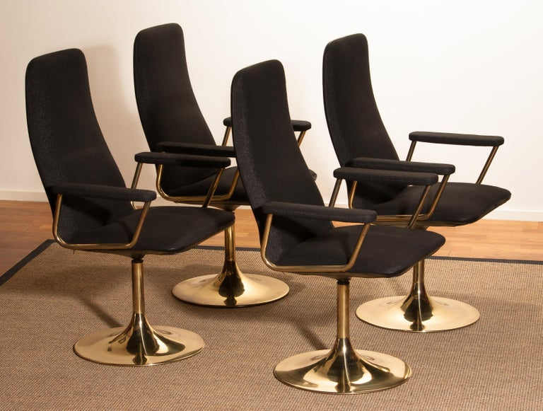 Swedish Four Golden, with Black Fabric, Armrest Swivel Chairs by Johanson Design, 1970 For Sale