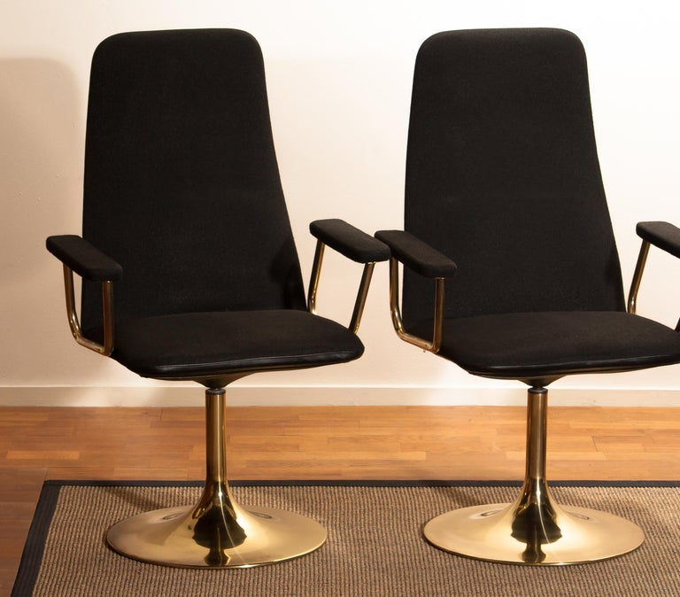 Metal Four Golden, with Black Fabric, Armrest Swivel Chairs by Johanson Design, 1970 For Sale