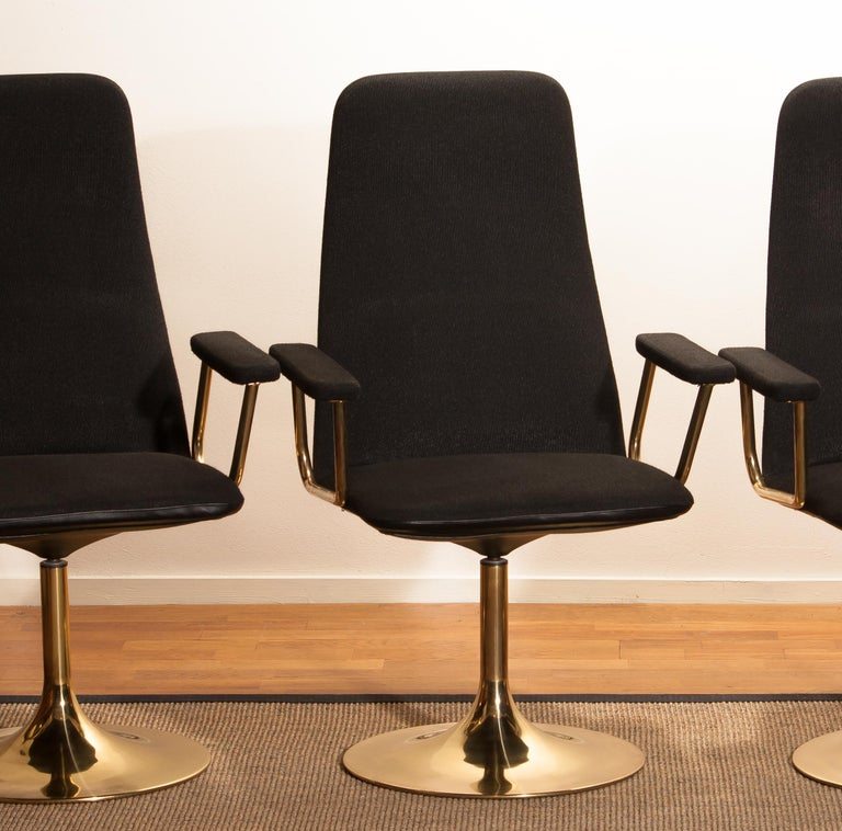 Four Golden, with Black Fabric, Armrest Swivel Chairs by Johanson Design, 1970 For Sale 1