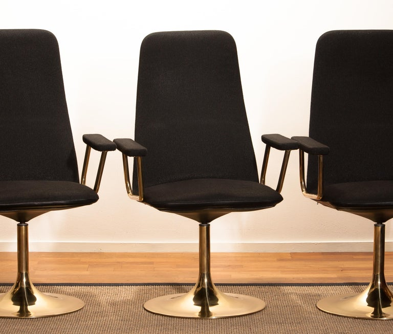 Four Golden, with Black Fabric, Armrest Swivel Chairs by Johanson Design, 1970 For Sale 2