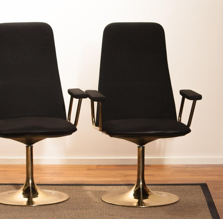 Four Golden, with Black Fabric, Armrest Swivel Chairs by Johanson Design, 1970 For Sale 3