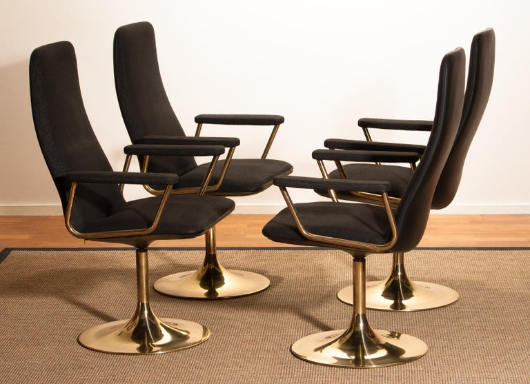 Four Golden, with Black Fabric, Armrest Swivel Chairs by Johanson Design, 1970 For Sale 4