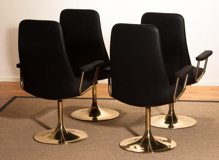 Four Golden, with Black Fabric, Armrest Swivel Chairs by Johanson Design, 1970 For Sale 5