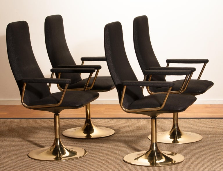 Four Golden, with Black Fabric, Armrest Swivel Chairs by Johanson Design, 1970 For Sale 6