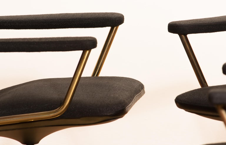 Four Golden, with Black Fabric, Armrest Swivel Chairs by Johanson Design, 1970 For Sale 8
