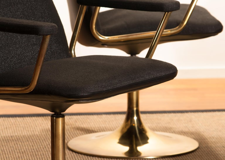 Four Golden, with Black Fabric, Armrest Swivel Chairs by Johanson Design, 1970 For Sale 9