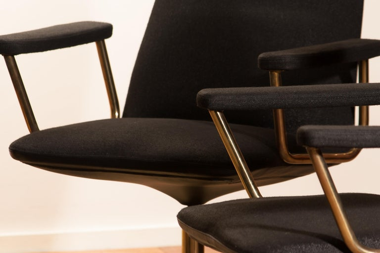 Four Golden, with Black Fabric, Armrest Swivel Chairs by Johanson Design, 1970 For Sale 10