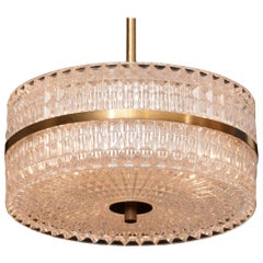 1960s Crystal and Brass Pendant Light by Carl Fagerlund for Orrefors