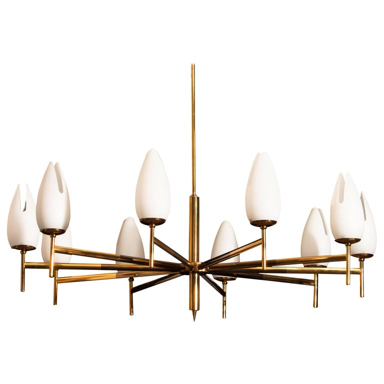 Gold / Brass Two-Tone Stilnovo Chandelier, Italy, 1960 For Sale