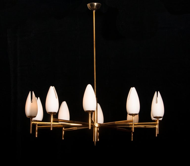 Mid-Century Modern Gold / Brass Two-Tone Stilnovo Chandelier, Italy, 1960 For Sale