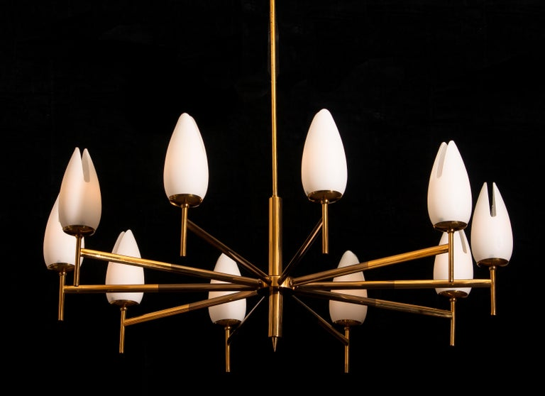 Italian Gold / Brass Two-Tone Stilnovo Chandelier, Italy, 1960 For Sale