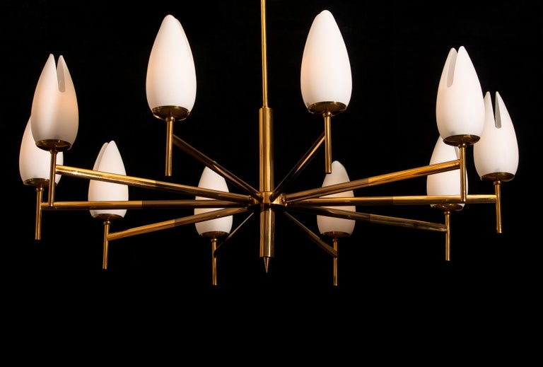 Gold / Brass Two-Tone Stilnovo Chandelier, Italy, 1960 In Good Condition For Sale In Silvolde, Gelderland