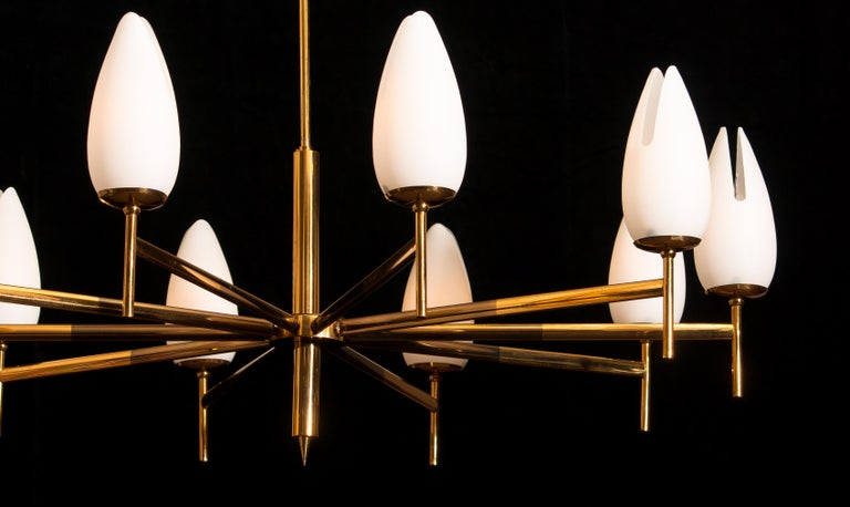 Mid-20th Century Gold / Brass Two-Tone Stilnovo Chandelier, Italy, 1960 For Sale