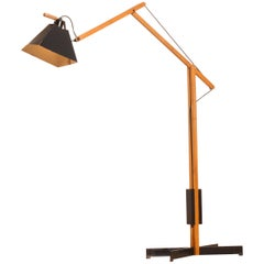 1950s Very Rare Teak and Metal Floor Lamp by Luxus