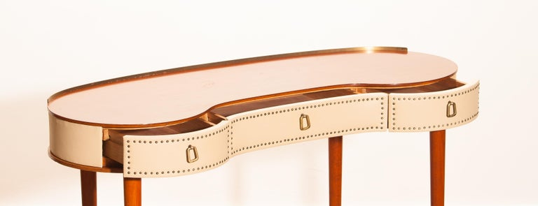 Swedish Mahogany Vanity or Dressing Table by Halvdan Pettersson for Tibro, Sweden, 1950s For Sale