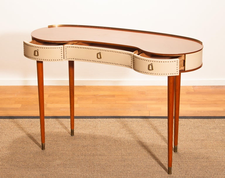 Mid-20th Century Mahogany Vanity or Dressing Table by Halvdan Pettersson for Tibro, Sweden, 1950s For Sale