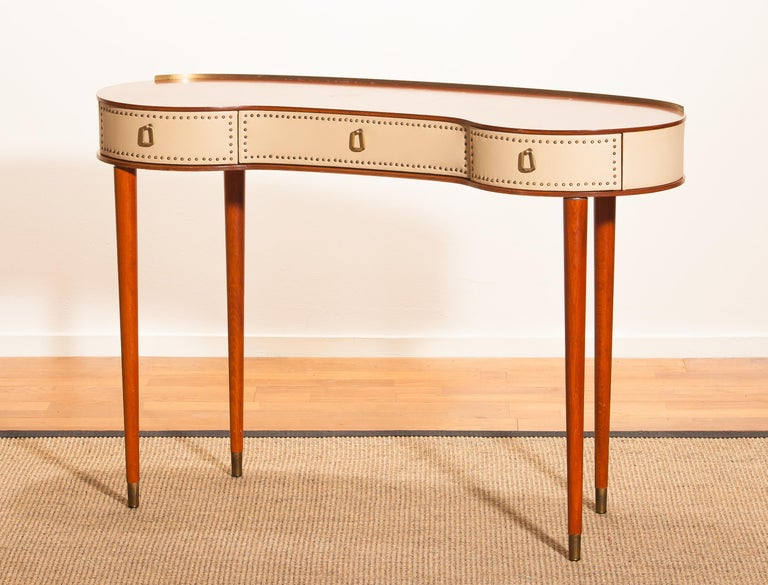 Brass Mahogany Vanity or Dressing Table by Halvdan Pettersson for Tibro, Sweden, 1950s For Sale