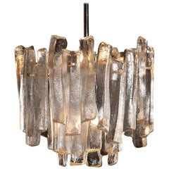 J.T. Kalmar Design Chandelier with Frosted Glass Elements, 1970s