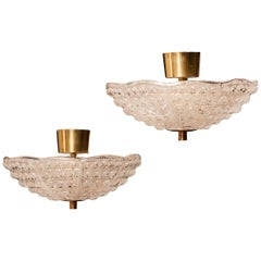 Crystal and Brass Ceiling Lights by Carl Fagerlund for Orrefors, 1960s