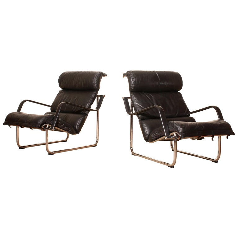 1970s, Set of Two Black Leather 'Remmie' Lounge Chairs, Yrjö Kukkapuro, Finland For Sale