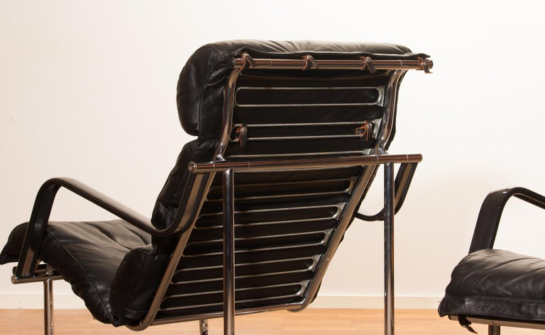 Late 20th Century 1970s, Set of Two Black Leather 'Remmie' Lounge Chairs, Yrjö Kukkapuro, Finland For Sale