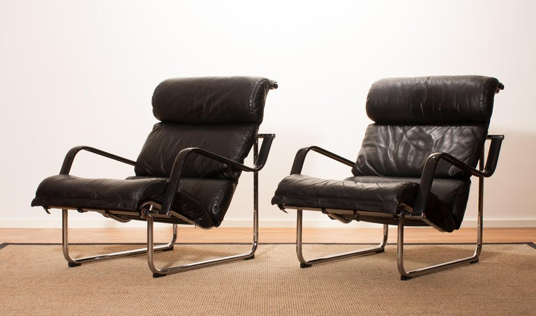 1970s, Set of Two Black Leather 'Remmie' Lounge Chairs, Yrjö Kukkapuro, Finland For Sale 2